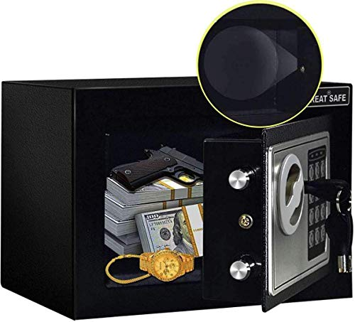 JUGREAT Safe Box with Induction Light,Electronic Digital Securit Safe Steel Construction Hidden with Lock,Wall or Cabinet Anchoring Design for Home Office Hotel Business 0.23 Cubic Feet Black