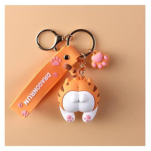 xczbb Porte-clés Anime Dessin animé 2021 Mignon Cat-Bout de Bout à Bout de Filles pour Femmes Filles Chats Cul Porte-clés Voiture Sac de Voiture Animal Pendentif Crayon Cadeau Orange Gris Orange