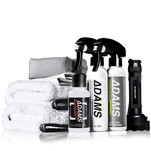 Adam's UV Paint Ceramic Coating Complete Kit - 9H Ceramic Coating Kit W/UV Flashlight | 5+ Years of Protection | Apply After Car Wash Clay Bar Car Polisher | Car Detailing Kit Boat RV Motorcycle