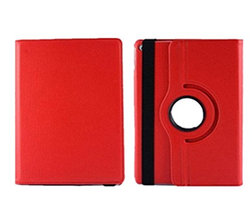Demarkt 360 ° Leather Protective Smart Case for iPad Air 2 iPad 6 Cover Case With Screen Protector Red