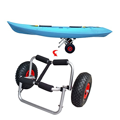 Walmeck- 65kg Ladekapazität Faltbare Kayak Trolley Energiespar Zweirädrige Trägerwagen für Kajak-Kanu-Boot