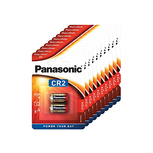 Panasonic CR2 zylindrische Lithium-Batterie für leichte Geräte mit hohem Energiebedarf wie Rauchmelder, Alarmanlage, Stirnplampe, Kameras, 3V, 10 Packungen (20 Stück)