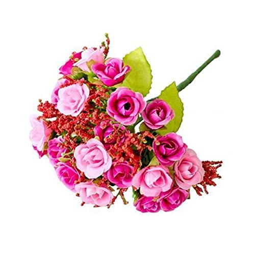 XINGTAO Flores Artificiales Flor Artificial Seda Rosa Rosa púrpura Blanco Amarillo Caliente Venta Fiesta decoración DIY decoración casera jardín decoración Barato (Color : Pink)
