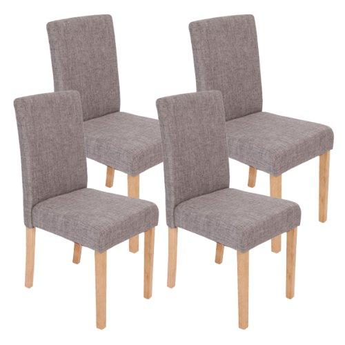 Mendler 4X Esszimmerstuhl Stuhl Küchenstuhl Littau ~ Textil, grau, helle Beine