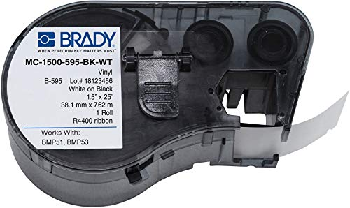 Brady-143386 High Adhesion Vinyl Label Tape (MC-1500-595-BK-WT) - White on Black Vinyl Film - Compatible with BMP51 and BMP53 Label Printers - 25 Length, 1.5 Width