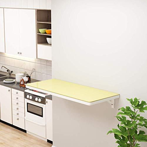 Klaptafel wandklaptafel gehard glas hoge temperatuurbestendigheid kindertafel schrijftafel opbergtafel voor de keuken met metalen houder voor het thuiskantoor restaurant (sc 60 x 40 cm/24 x 16 in-geel