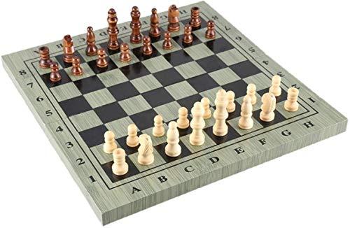 MWKLW Staunton Chess Wood Edición Plegable estándar Chess International Staunton Chess Caja de Madera Plegable de Madera Paquete de Paquete Juego de Mesa Juego de Viaje Plegable