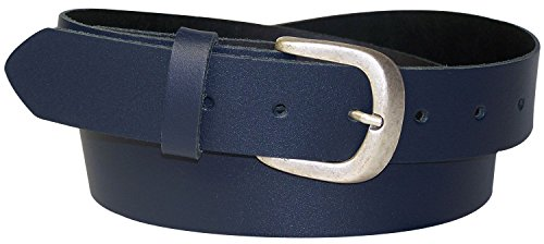 FRONHOFER Jeansgürtel für Damen, Ledergürtel, Gürtel matt silberne Schnalle, Übergrößen Damengürtel 18173, Größe:Körperumfang 110 cm/Gesamtlänge 125 cm, Farbe:Marine