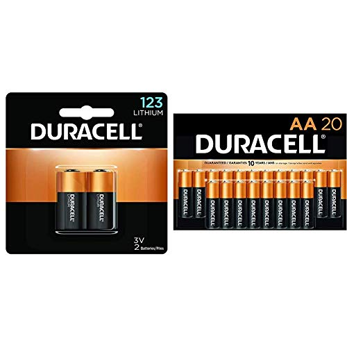 Duracell – 123 3V Lithium Photo Size Battery – Long Lasting Battery – 2 Count & - CopperTop AA Alkaline Batteries - Long Lasting, All-Purpose Double A Battery for Household and Business - 20 Count