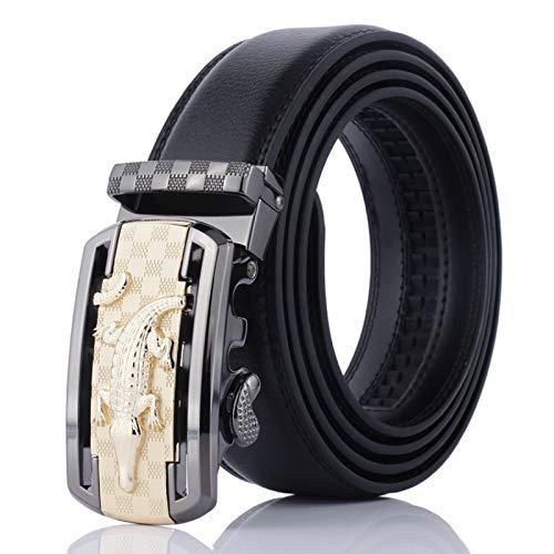 Xme Nuevo cinturón de hombre con hebilla automática de cocodrilo, cinturón de cuero informal de negocios para hombre, cinturón de cuero de dos capas