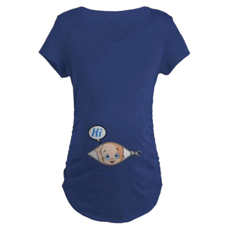 Yaseking Womens Maternity Cute Tops Funny Pattern Print Short Sleeve Casual Summer Pregnant T-Shirt