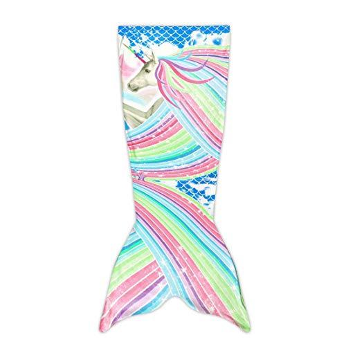 CWBB Cartoon Beauty Colorful Mermaid Fish Tail Blanket, Flannel for Parent-Child Warm Sleeping Bagtv Blanket,Geschenk Für Mädchen,A