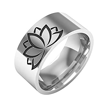 LiFashion LF Mens Womens Stainless Steel Tibetan OM Aum Lotus Blossom Flower Hindu Yoga Ring Wedding Promise Band for Wife Girlfriend Husband Daughter for Sports Meditate Silver,Size 9