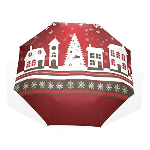 LASINSU Paraguas Resistente a la Intemperie,Vacaciones de Invierno Theme Gingerbread House con árboles y Copos de Nieve Lámina,Fitness Entrenamiento Fuerte Grunge Print