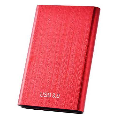 External Hard Drive, Portable Hard Drive 1TB 2TB External USB 3.1/Type-C Slim Hard Drive Data Storage Compatible with PC, Laptop and Mac(2TB-A Red)