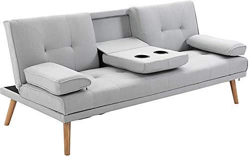 Sofá cama sofá cama 3 personas lino 181 x 77 x 72 cm,Grey
