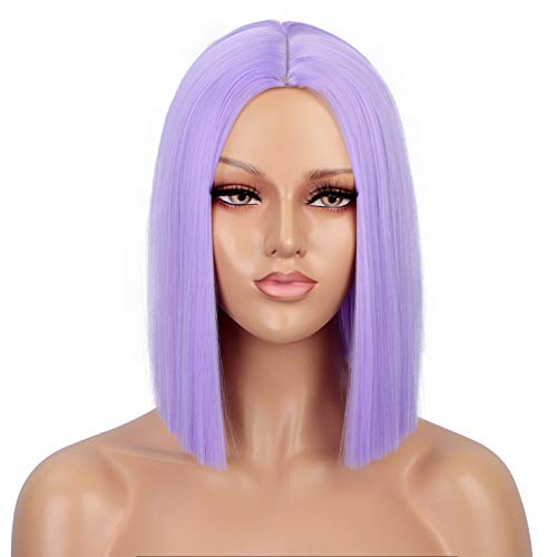 ENTRANCED STYLES Purple Wig Straight Bob Hair 12 Inch Synthetic Lavender Wigs for Women Colorful Cosplay High Temperature Heat Resistant Wig