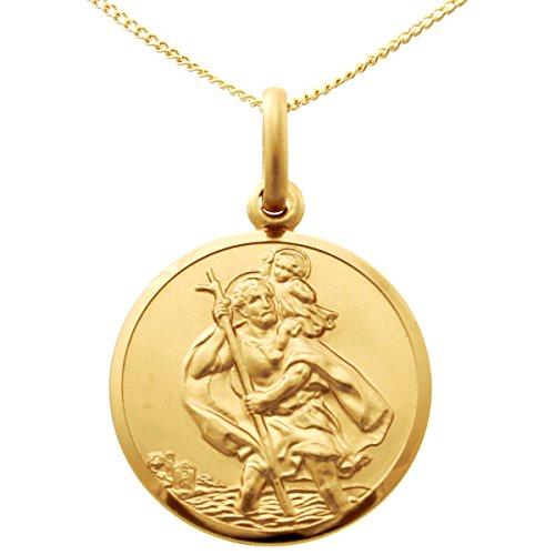 Pendentif Médaille Saint Christophe en or 9carats–20mm–