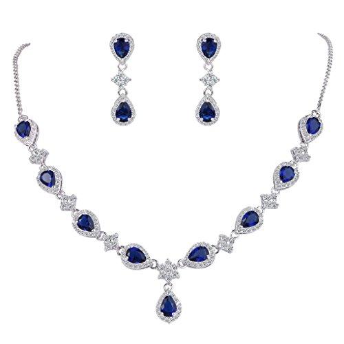 EleQueen Women's Silver-tone Cubic Zirconia Teardrop Flower Bridal V-Necklace Set Dangle Earrings Sapphire Color