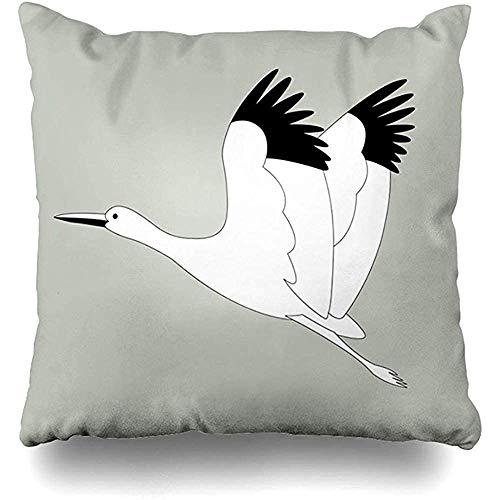 LinUpdate-Store Kissenbezug blau Ankunft Storch Vogel fliegen Futter Feder grau asiatische Schnabel Geburtsbündel tragen