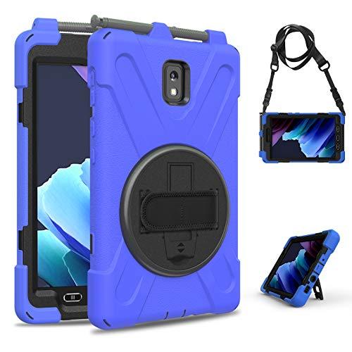 YGoal Funda para Galaxy Tab Active 3 8 - Multifuncional Carcasa con 360 Rotación Kickstand, Correa de Bandolera y Mano Híbrido Shockproof Cover para Samsung Galaxy Tab Active 3 T570/T575, Azul