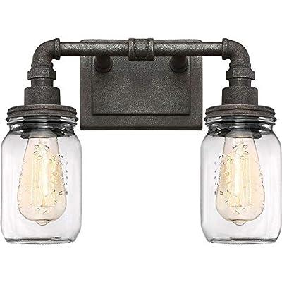 "Quoizel SQR8602RK Squire Industrial Rustic Vanity Wall Lighting, 2-Light, 200 Watts, Rustic Black (11""H x 14""W)"