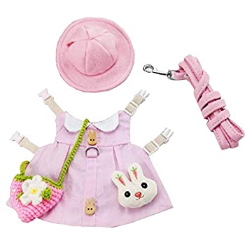 ANIAC Small Animals Dress with Accessories Pet Rabbit Harness Vest and Leash Set with Hat Cute Easter Costume with Mini Bag for Ferret Guinea Pig Squirrel Kitten  Medium Pink