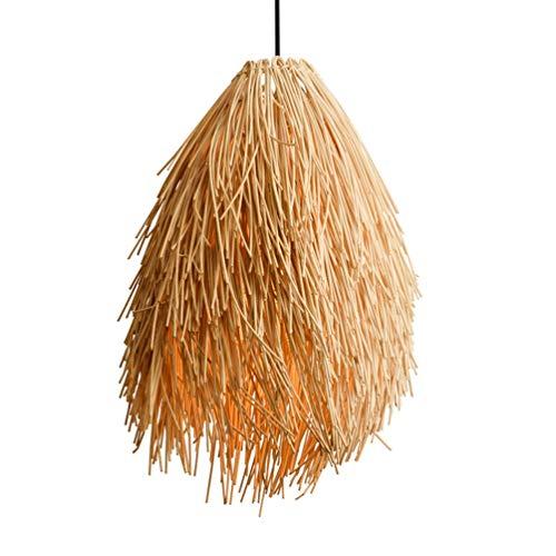 Modern E27 LED Pendelleuchte handgeflochten aus Bambus Pendellampe Kreative Design Lampeschirm Personalisierte Hängeleuchte Rattan Kronleuchter Hängelampe für Esszimmer Schlafzimmer Ø40cm*50cm