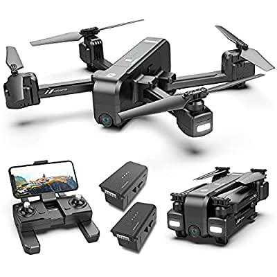 Holy Stone HS270 GPS 2.7K Drone with FHD FPV Camera Live Video for Adults, Portable Selfie Quadcopter with 2 Batteries for Beginners with Auto Return Home, Custom Flight Path, Follow Me, Auto Hover