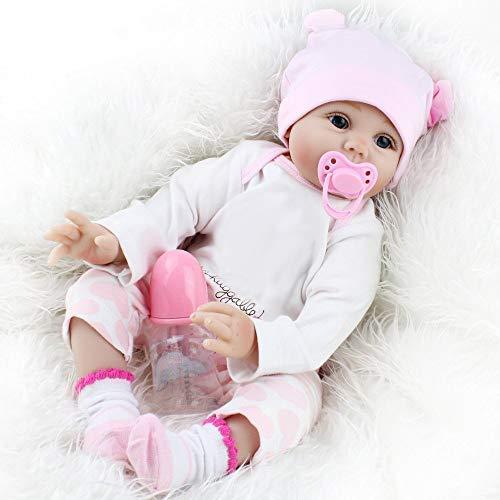 Pinky Reborn 22 Inch 55cm Soft Silicone Vinyl Reborn Doll Baby Girl Realistic Looking Lifelike Baby Dolls Kids Playmate Toy Birthday Present Xmas Gift (Eyes Open)
