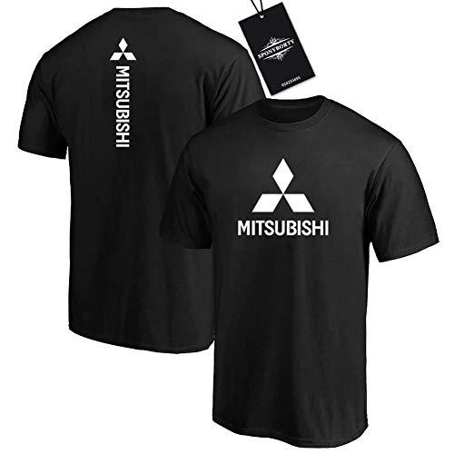 Gyulyaydin Hombres Undergo 100% Algodón Confortable Mitsu-bishi Corto Manga Redondo Cuello Camisetas Y/Negro/L