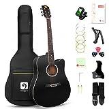 Vangoa 4/4 Guitarra Acústica 41 pulgadas Dreadnought Folk Guitarra Cutaway Guitarras con Cuerdas Metálicas, Kits para Principiantes, Negro