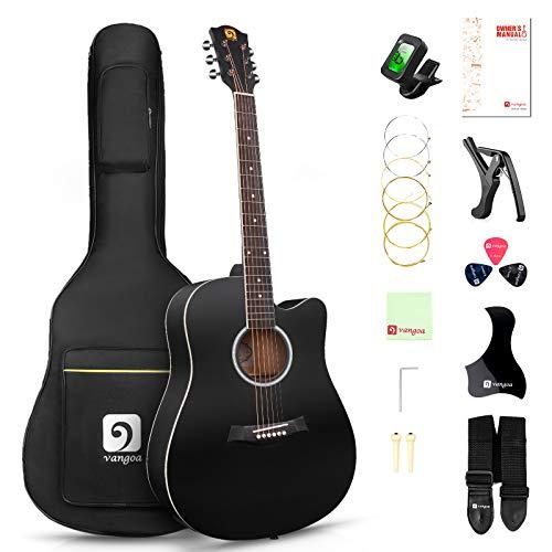 Vangoa 4/4 Akustik Gitarre Volle Größe Cutaway Westerngitarre 41 Zoll Akustikgitarre Set mit Anfänger Kits, Schwarz