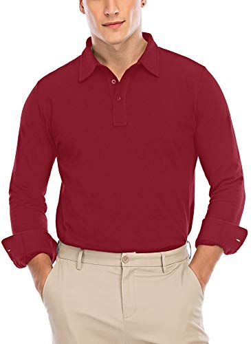 Gollala Men's Long Sleeve Polo Shirts Causal Mesh Pique Polos with Buttoned Barrel Cuffs Sport Basketball Polo T-Shirts Red Large