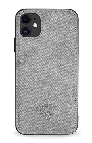 turtleandcase Hülle Kompatibel mit iPhone 11 & kostenlosem Panzerglas, Silikon oder Stoff Handyhülle, Dünne Schutzcase & Stoßfest für iPhone 11 6,1 Zoll (Grau Stoff)