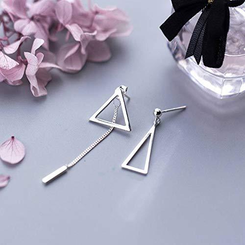 Thumby S925 Zilveren Oorbellen Mode Holle Driehoek Links en Rechts Asymmetrische Oorbellen Oorsieraden, S925 zilveren oorbellen