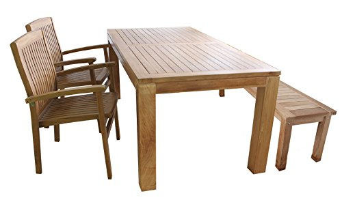 LINDER EXCLUSIV Echt Teak Sitzgruppe 2 x Sessel 1 x Bank 1 x Tisch