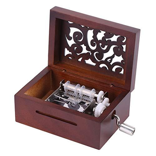 Pssopp Mecanismo de Madera de Nogal Vintage Caja Musical Caja de música de manivela Cinta de composición Caja de música con 15 Notas para Hacer Canciones DIY Haga su Propia canción