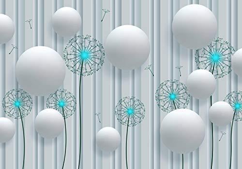 wandmotiv24 Fototapete Weiß 3D türkis , L 300 x 210 cm - 6 Teile, Fototapeten, Wandbild, Motivtapeten, Vlies-Tapeten, Blumen, Pusteblumen M4044
