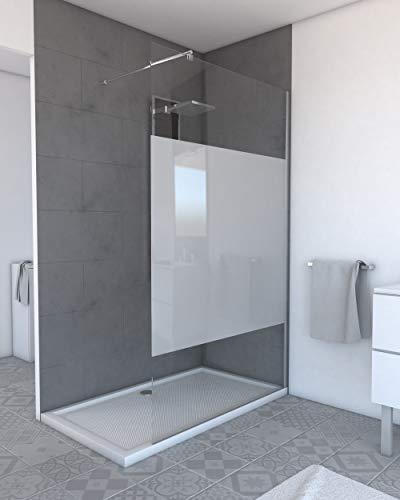 MARWELL Walk IN 120 x 200 cm PLANO begehbare Duschwand mit barrierefreiem Einstieg, 8 mm starkes Einscheibensicherheitsglas mit satiniertem Sichtschutzstreifen, verchromtes Aluminiumprofil, chrom