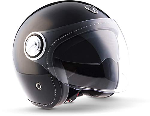 "Soxon® SP-888 ""Mono Black"" · Jet-Helm · Motorrad-Helm Roller-Helm Scooter-Helm Moped Mofa-Helm Chopper Retro Vespa Vintage Pilot · ECE 22.05 Sonnenvisier Schnellverschluss SlimShell Tasche S (55-56cm)"