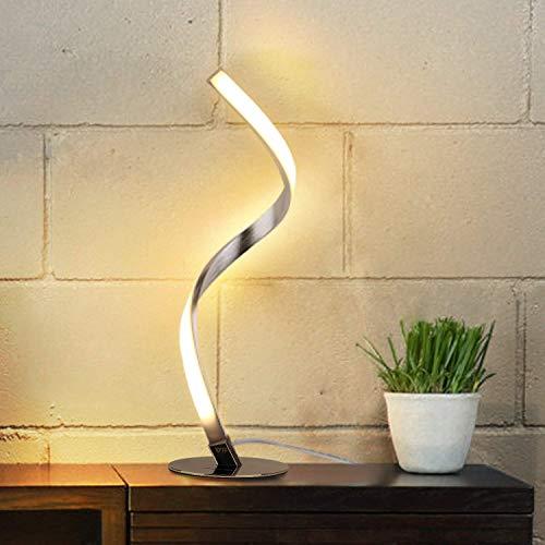 Albrillo Lámpara de Mesa LED Espiral - Lámpara de Escritorio Moderna de Aluminio, Lámpara de Cabecera Curvada, con Cable de 1,5 m, Iluminación Decorativa para Dormitorio, Sala de Estar, Blanco Cálido 🔥