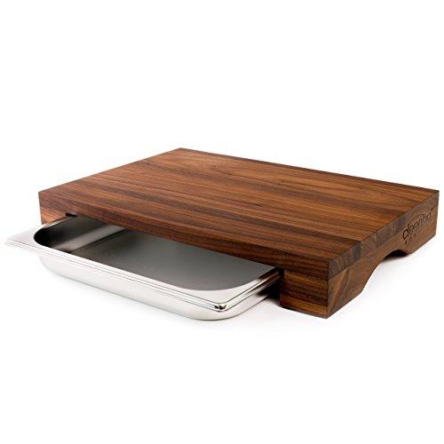 cleenbo - tagliere cube noce, piano di cucina in noce oliato con vaschetta raccogli gocce in acciaio inox, dimensioni: 43 x 29 x 7 cm