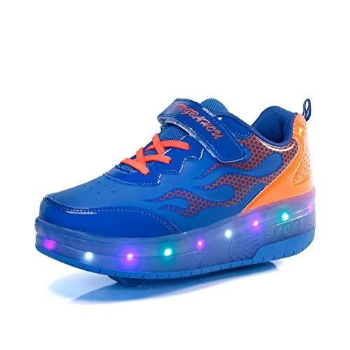Good-time Kinder Junge Mädchen Led Schuhe Sneaker Mit Rollen 7 Farbe Farbwechsel Wheels Skate Schuhe(Doppelrad-Blau Orange,30 EU)