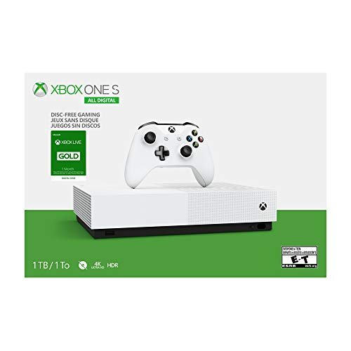 Microsoft Xbox One S 1TB All-Digital Edition Console with Xbox One Wireless Controller and 1 Month Xbox Live Gold Membership (Game Codes Not Included) - White