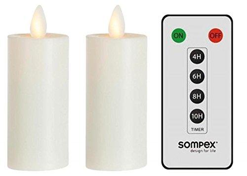 sompex 2er Set Flame LED Teelicht XL 39010 Elfenbein mit Fernbedienung