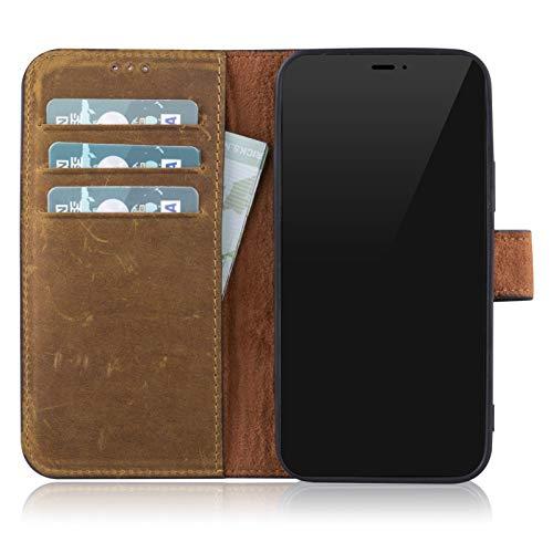 Blumax Ledercase kompatibel mit iPhone 12/12 Pro, Lederhülle extra Dünn, Premium Leder, Design Handyhülle Tasche Vintage braun