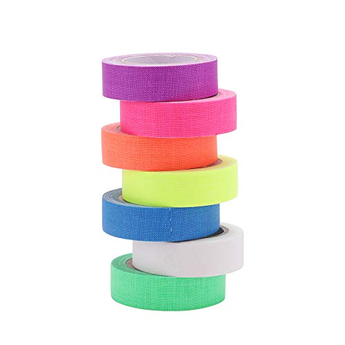 UV Blacklight Reactieve Tape, 7 Kleuren 0.59in x 16.4ft Fluorescerende Neon Gaffer Lijm Tapes voor Vloeren Stadia Glow Partijen DIY Art Craft Decoraties