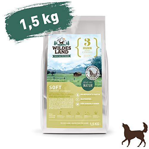 Wildes Land   Halbfeuchtes Trockenfutter für Hunde   Nr. 3 Huhn   1,5 kg   mit Reis und Wildkräutern   Glutenfrei   Extra viel Fleisch   Soft Alle Hunderassen   Beste Akzeptanz und Verträglichkeit