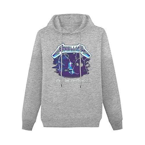 yess Ride The Lightning Rock Heavy MetalHooded Digital Printed SweatshirtGray3XL